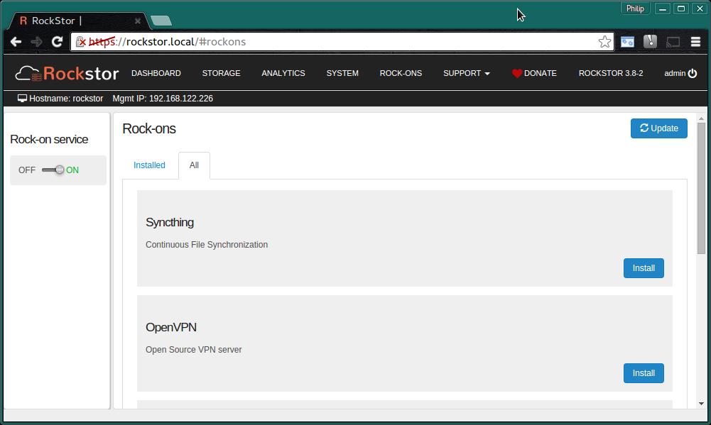 OpenVPN Server Rock-on — Rockstor documentation