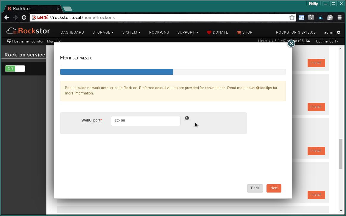 Plex Server Rock-on — Rockstor documentation