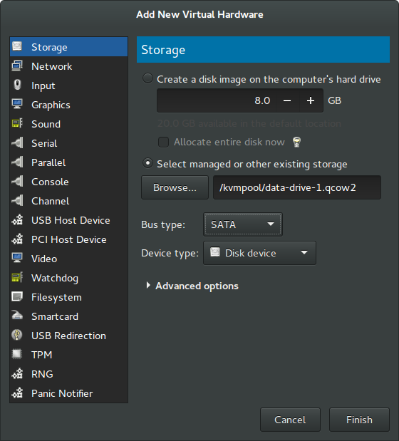 Rockstor in Virtual Machine Manager guide — Rockstor
