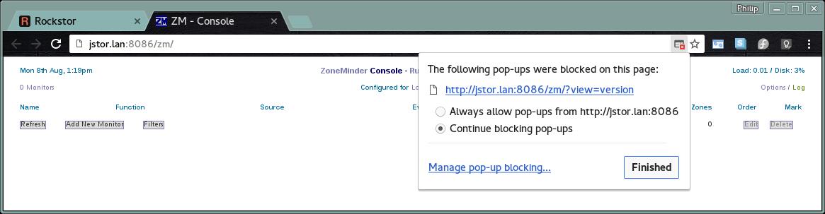 ZoneMinder Rock-on — Rockstor documentation